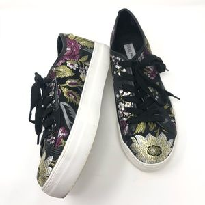 Steve Madden Floral Foil Embroidered Sneakers